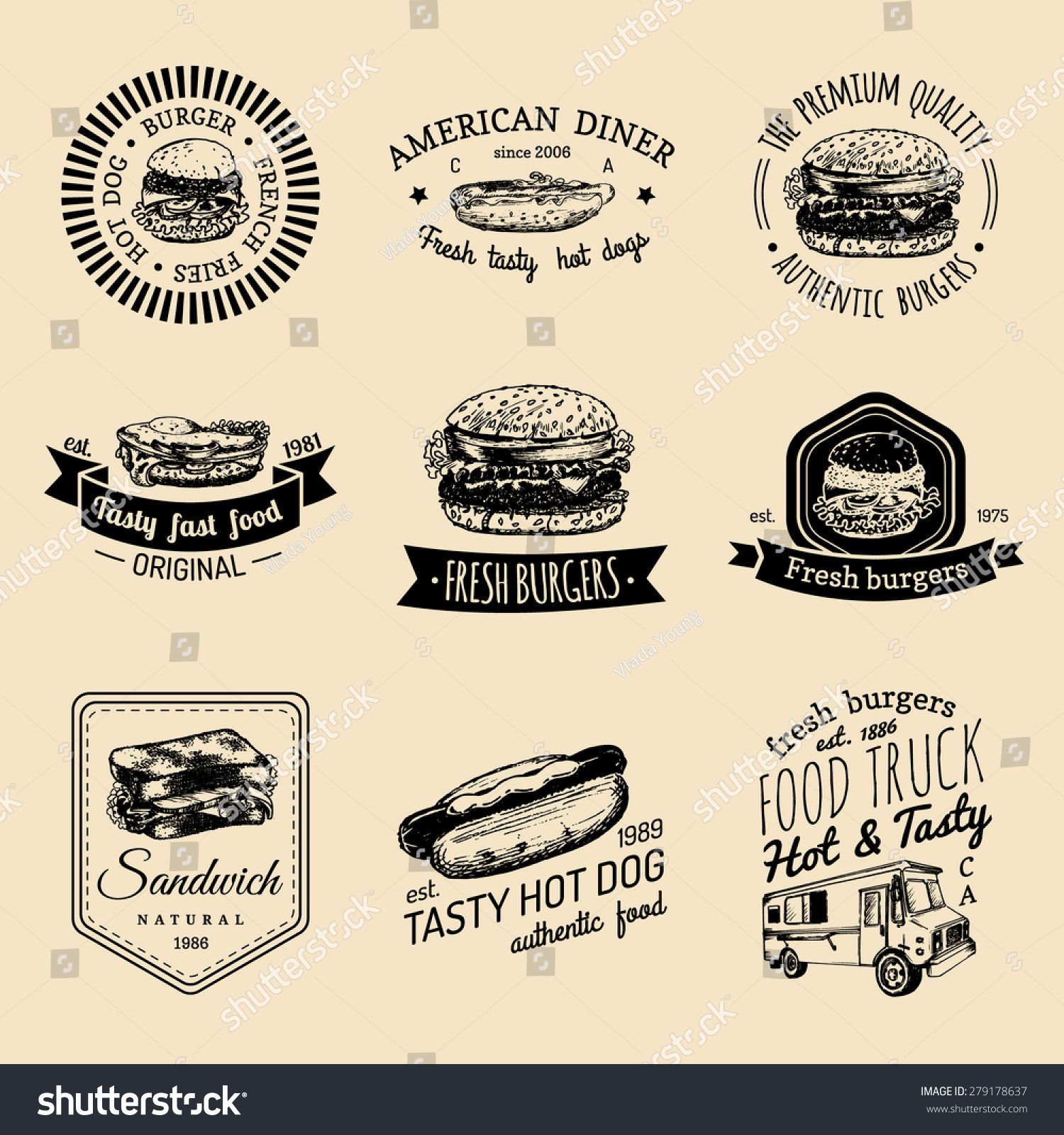 Cucina A Vista Fast Food Vector Vintage Fast Food Logo Set Vectores En Stock