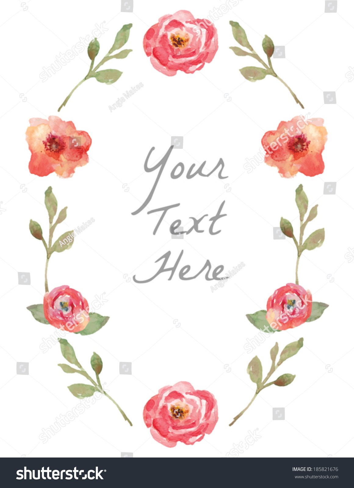 Vector watercolor floral wreath hand painted stock vector