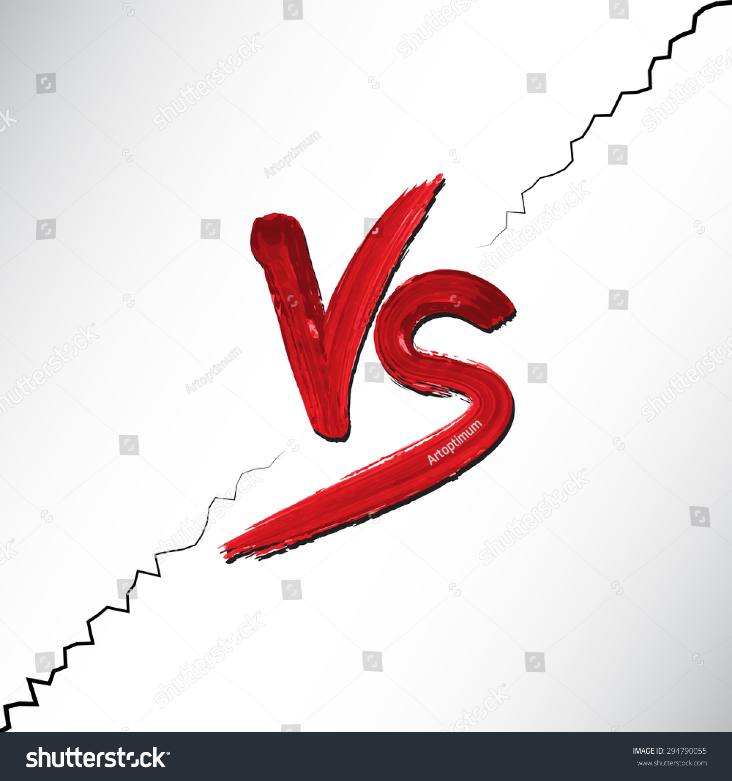 / Vs Versus Letters Vs Logo Red Watercolored Stock Vector
