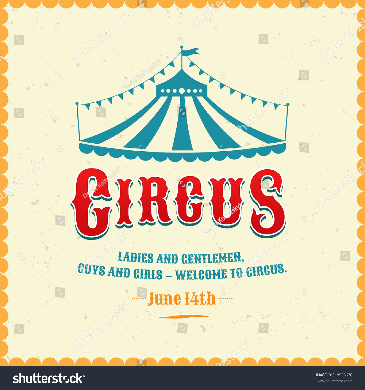 Cute Elephant Design Wallpaper Vintage Poster Circus Silhouette Circus Tent Stock Vector