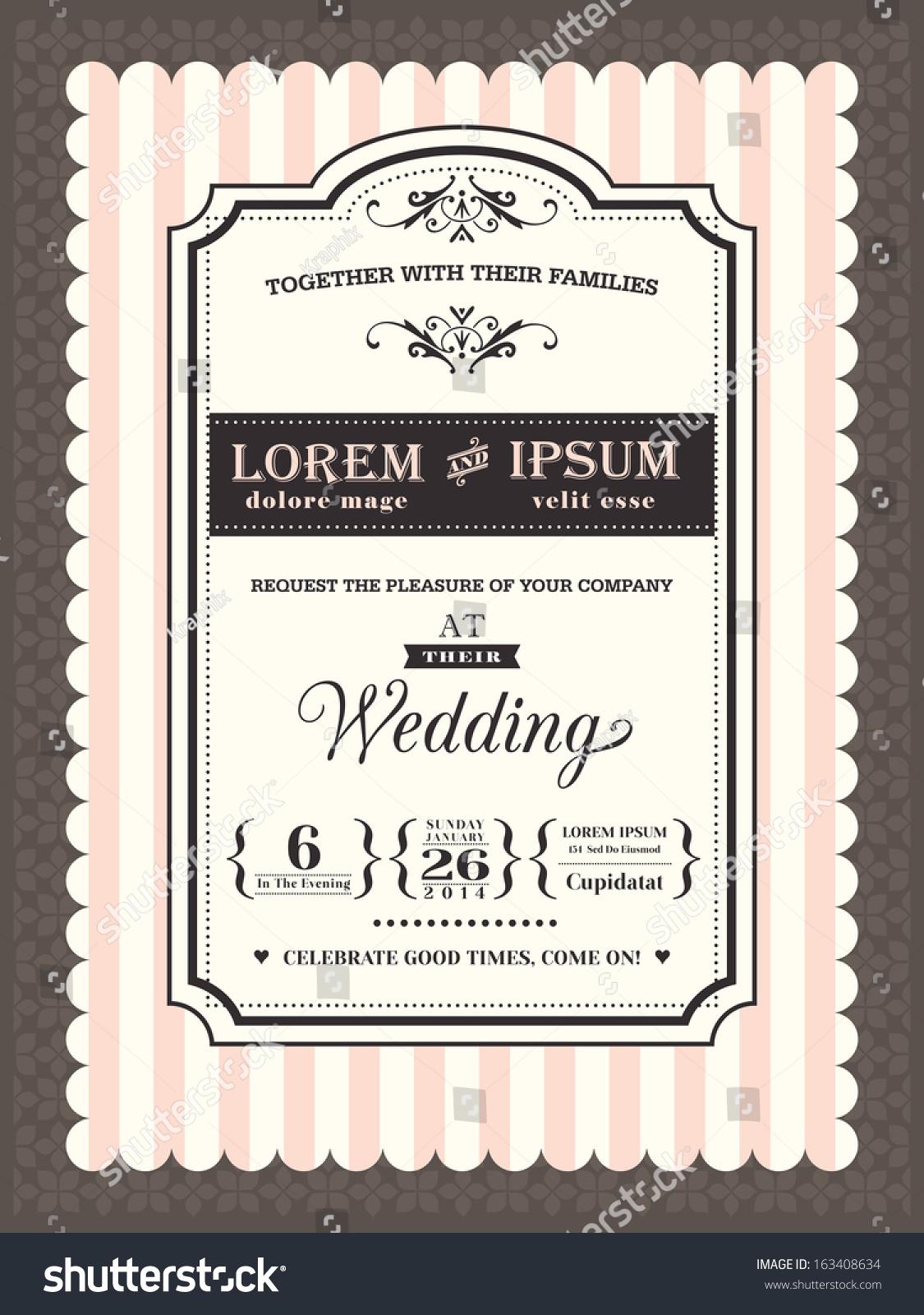 stock vector vintage wedding invitation border and frame template wedding invitation frame Vintage Wedding invitation border and frame template