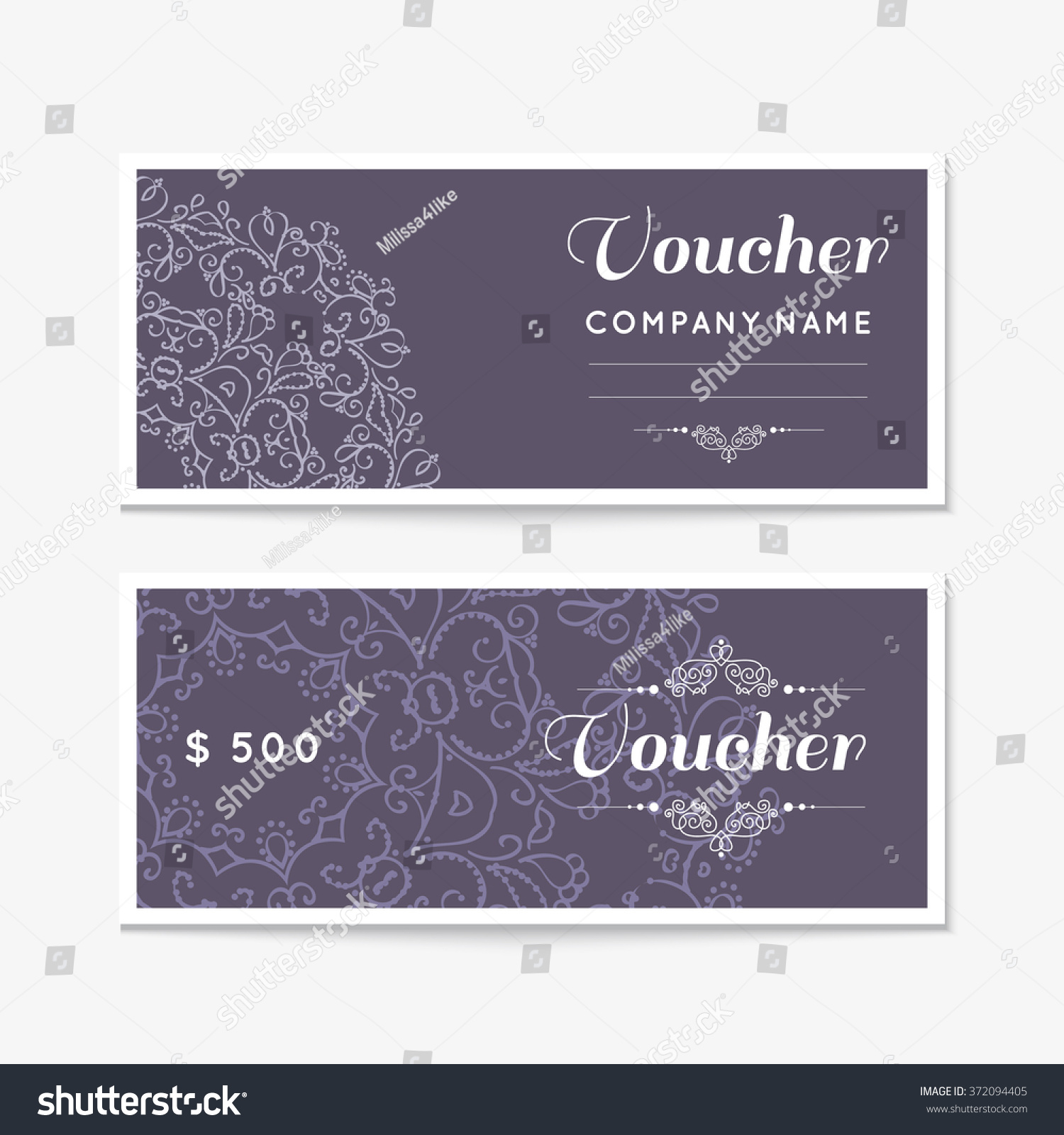 Note Card Cafe Coupon Voucher Gift Certificate Coupon Template Floral Scroll Pattern