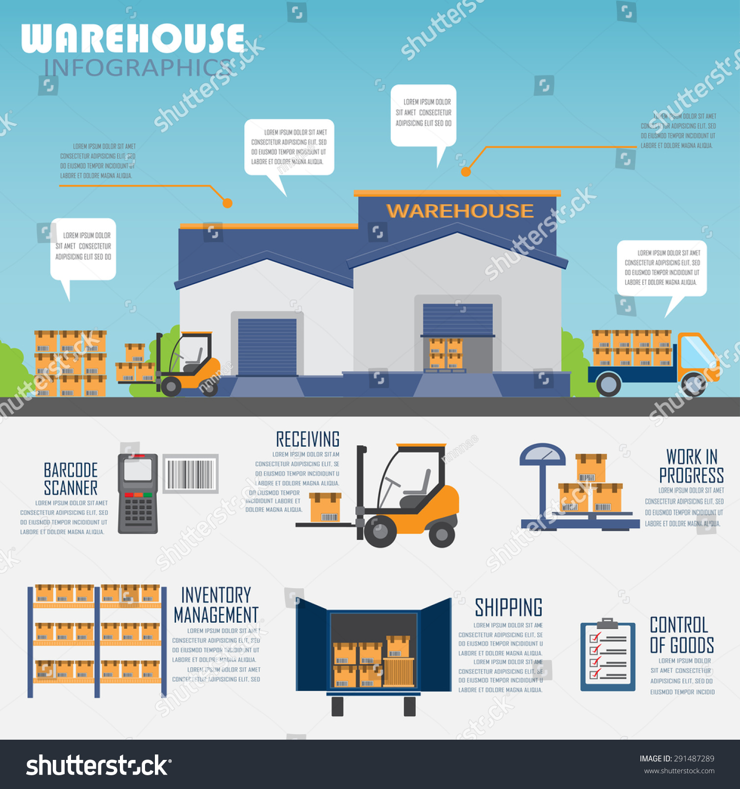 Warehouse Website Warehouse Cargo Logistic Business Management Infographics