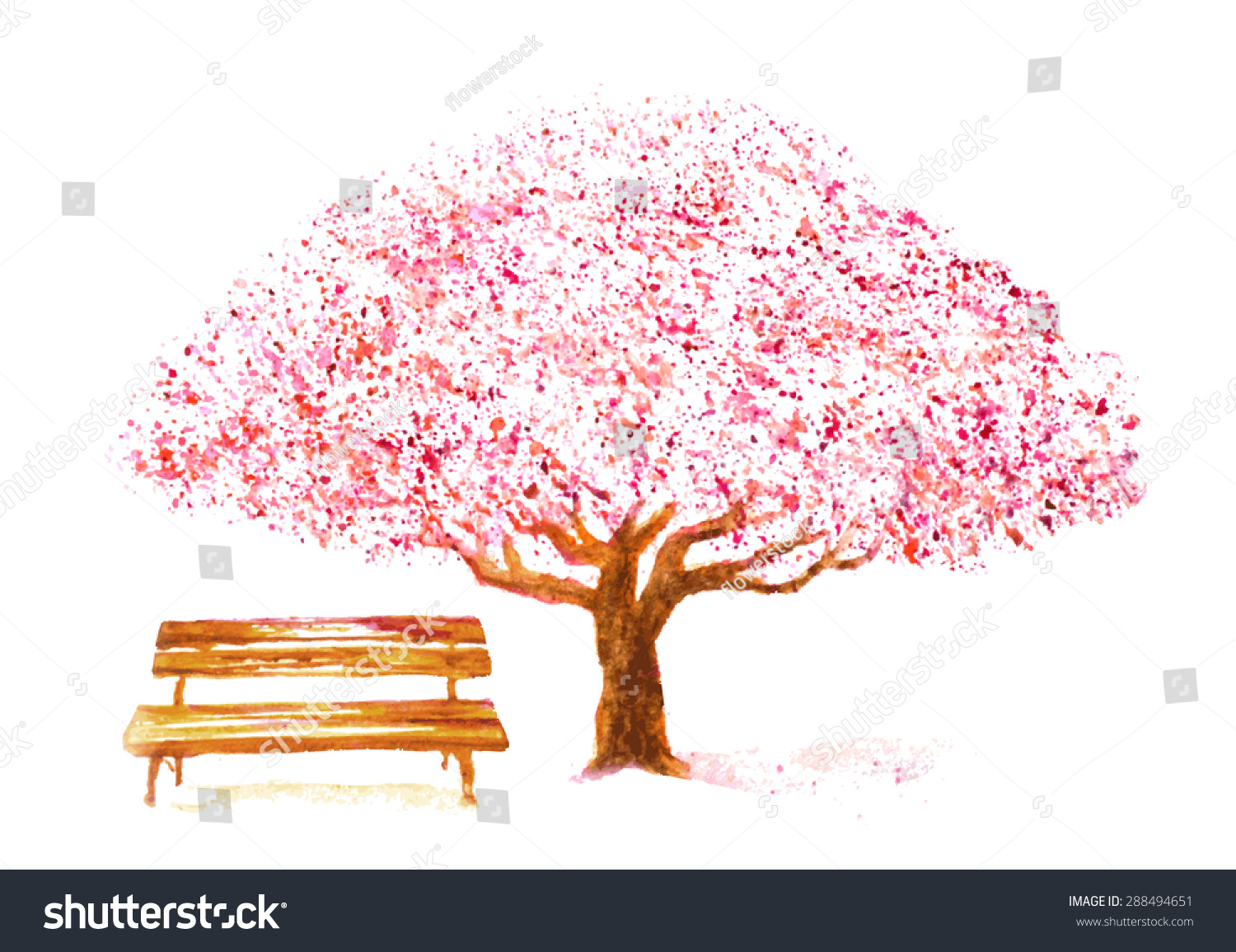 Tree Drawing With Watercolor Watercolor Hand Drawn Cherry Tree Bench Stock Vector