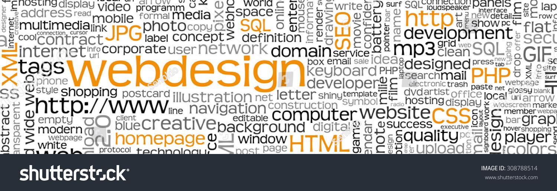 Webdesign Keyword Tag Cloud Panorama Many Stock Vector (Royalty Free