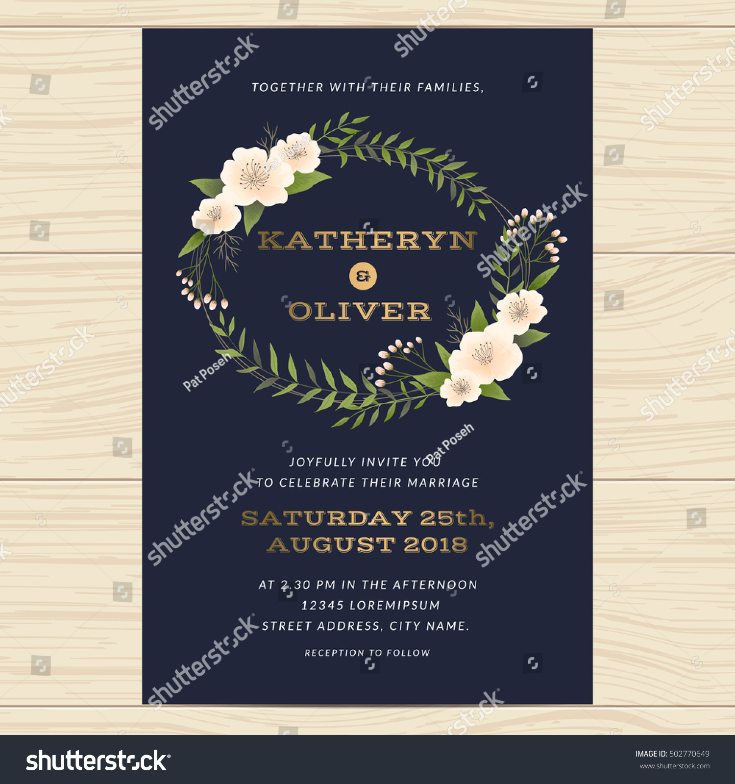 Wedding Invitation Card Template Decorate Flower Stock