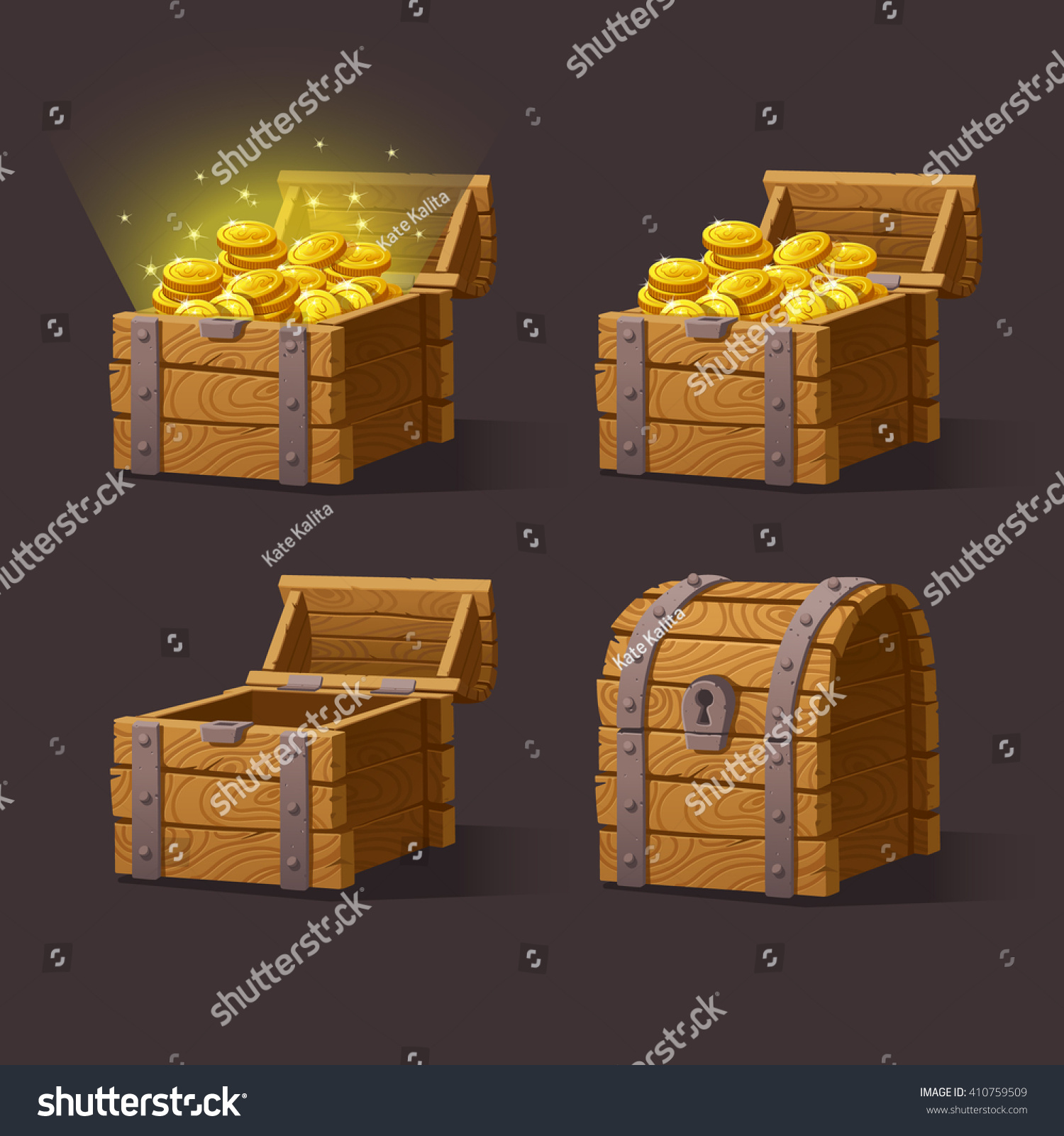 Chest Game Set Wooden Chest Set Game Interfacevector Illustration Stock