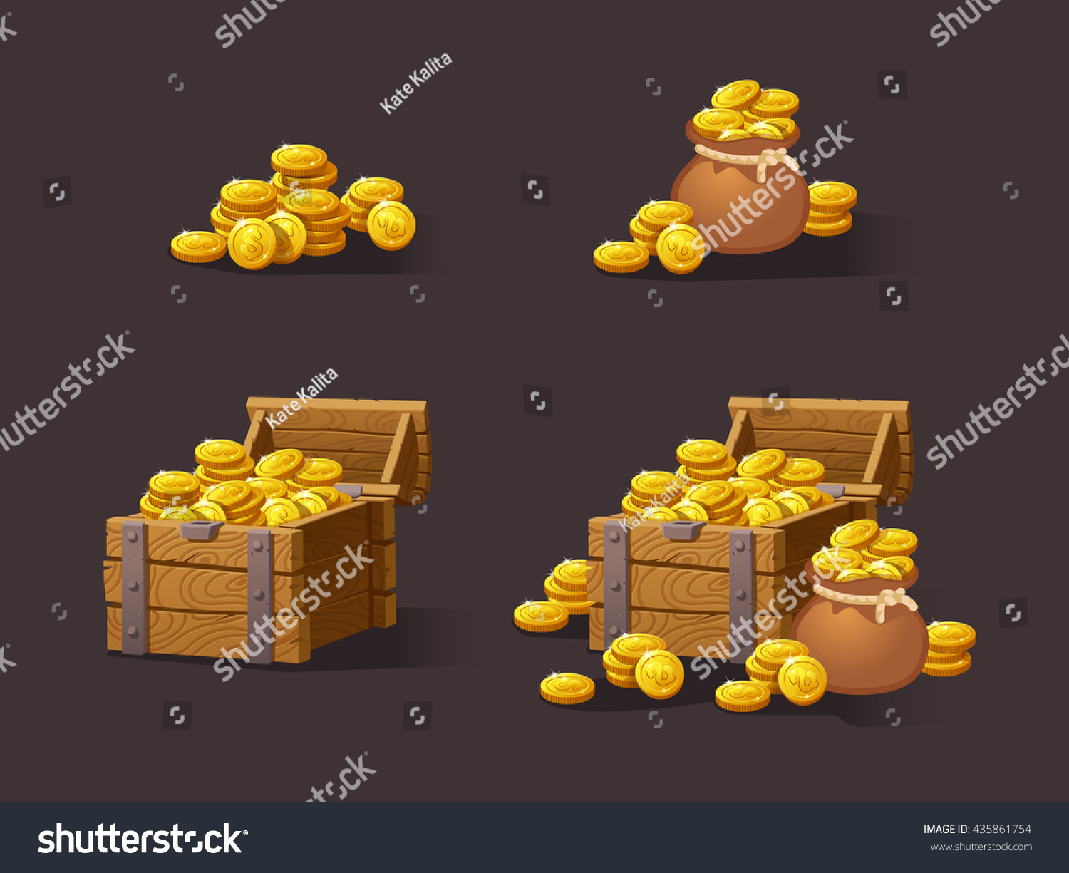 Chest Game Set Wooden Chest Set Game Interface Vector Stock Vector