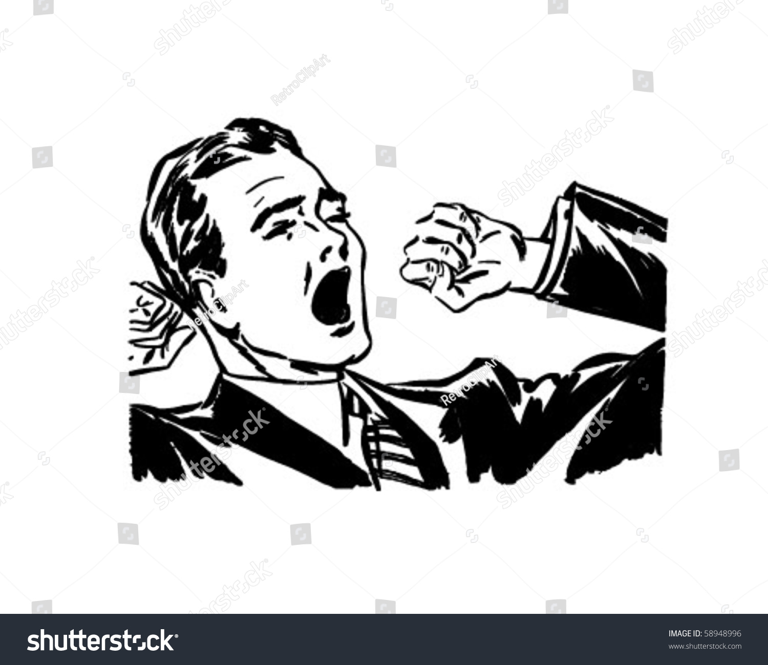Yawning Stretching Retro Clip Art Stock Vector Royalty Free 58948996