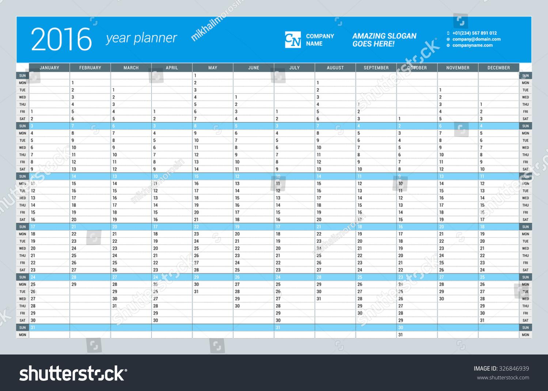 Week Year Calendar Wall Free Year Planner A4 Wall Diary Calendar Free Download Yearly Wall Calendar Planner Template 2016 Stock Vector