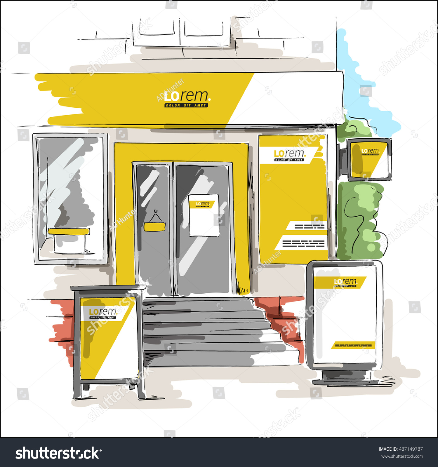Yellow Shop Yellow Store Design Elements Outdoor Advertising Stock