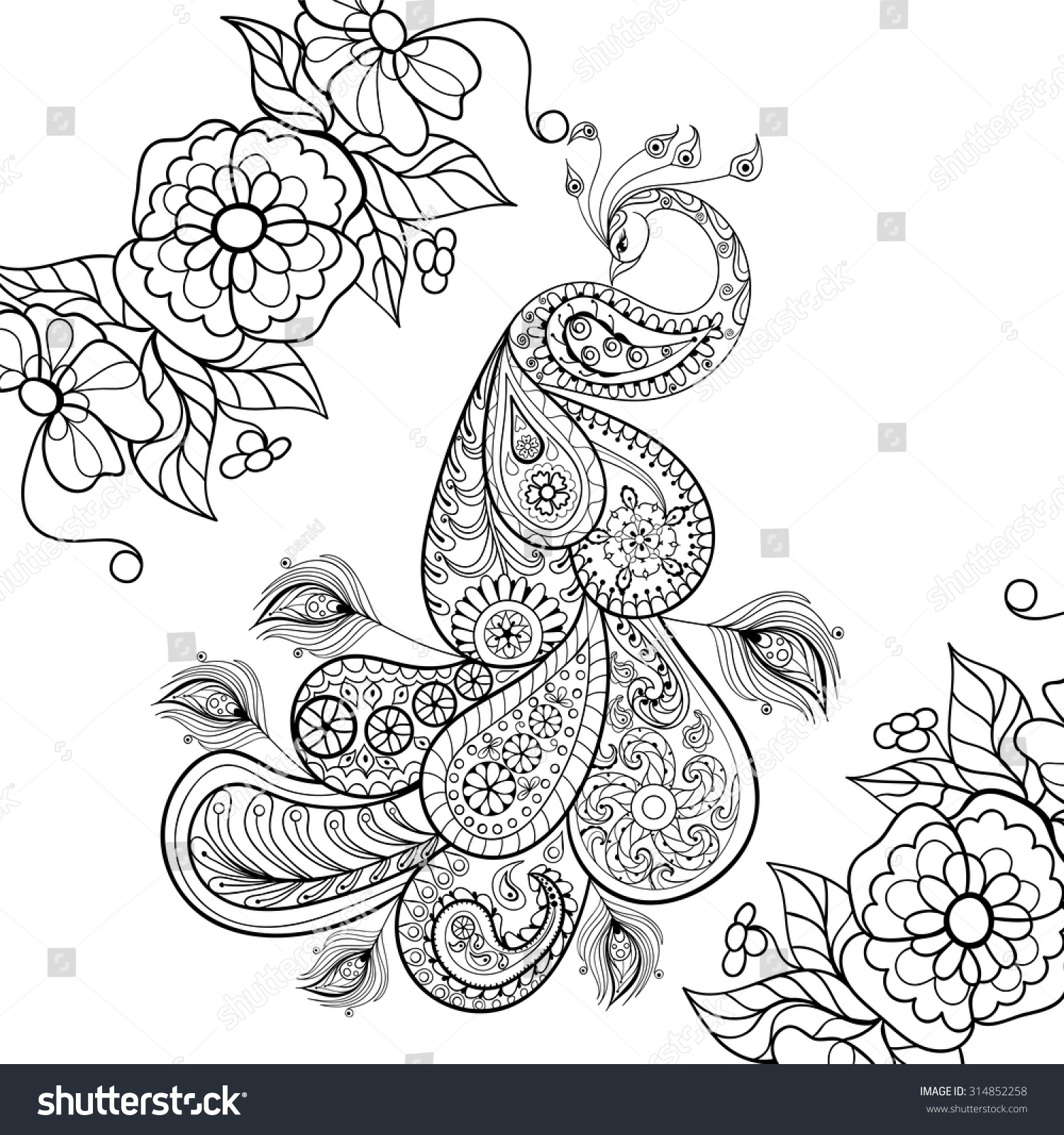 Colourtation anti stress colouring book for adults volume 1 - Anti Stress Colouring Page Zentangle Peacock Totem In Flowersfor Adult Anti Stress Coloring Page For