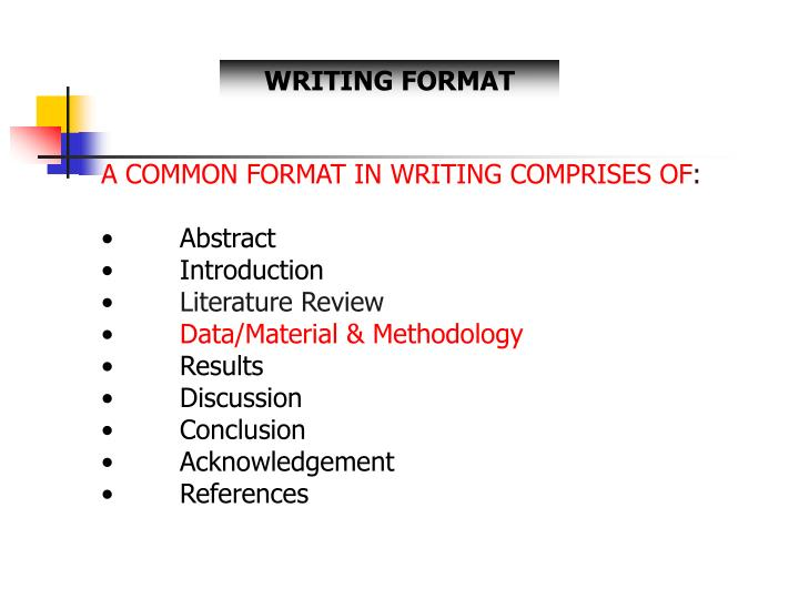 PPT - A COMMON FORMAT IN WRITING COMPRISES OF  Abstract