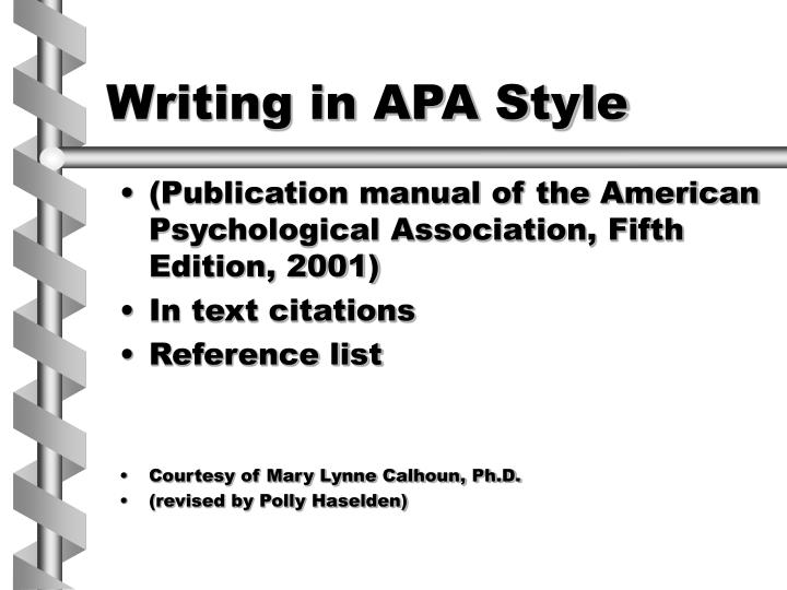 PPT - Writing in APA Style PowerPoint Presentation - ID1139085