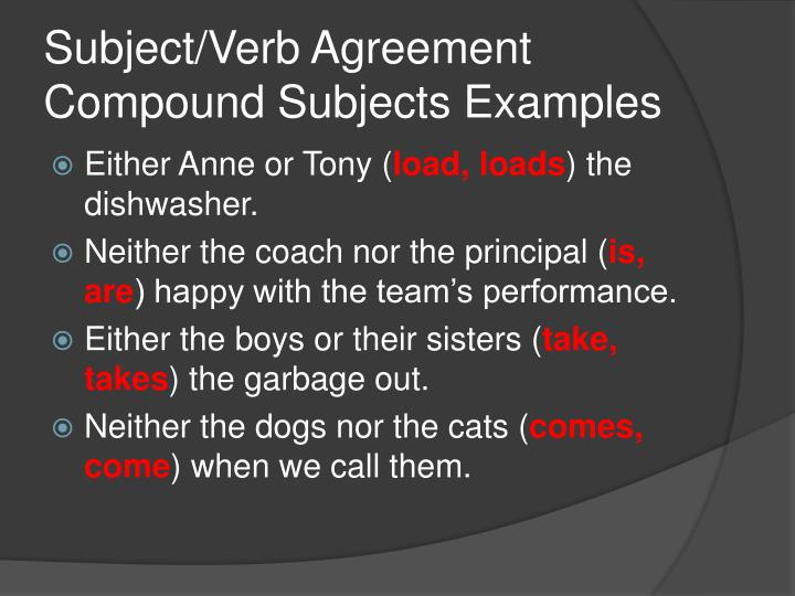 PPT - Subject/Verb Agreement PowerPoint Presentation - ID1160668