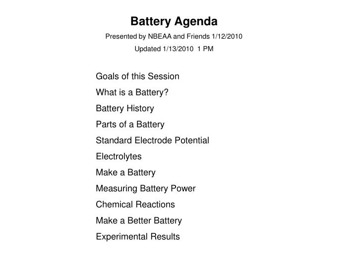 PPT - Battery Agenda Presented by NBEAA and Friends 1/12/2010