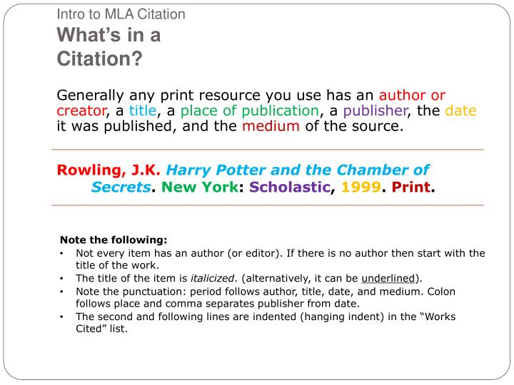 PPT - An Introduction to MLA Citation Style PowerPoint Presentation
