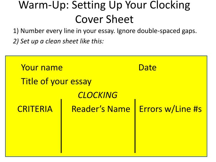 PPT - Warm-Up Setting Up Your Clocking Cover Sheet PowerPoint