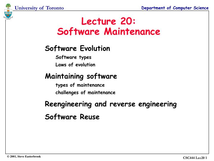 PPT - Lecture 20 Software Maintenance PowerPoint Presentation - ID