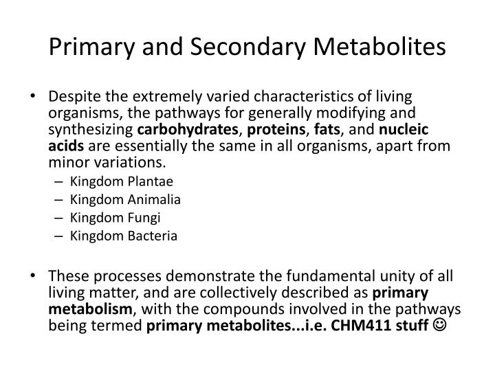 PPT - Primary and Secondary Metabolites PowerPoint Presentation - ID