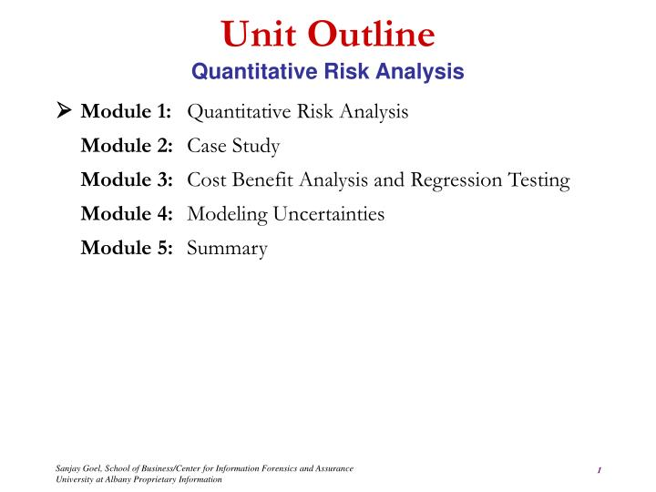 PPT - Unit Outline Quantitative Risk Analysis PowerPoint
