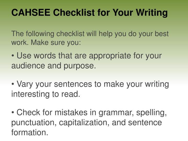Cahsee essay powerpoint