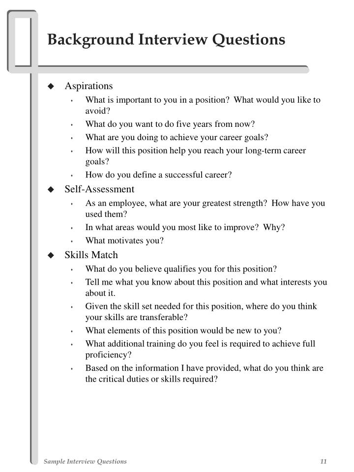 PPT - Sample Interview Questions PowerPoint Presentation - ID234367