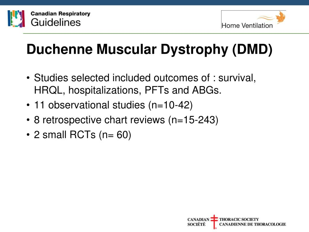 Duchenne Muscular Dystrophy Symptoms Management And Prognosis Ppt Home Mechanical Ventilation Hmv Guidelines