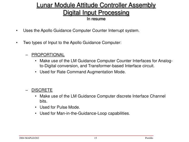 PPT - Lunar Module Attitude Controller Assembly Digital Input