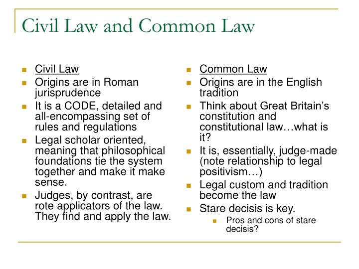 PPT - Civil Law and Common Law PowerPoint Presentation - ID277125