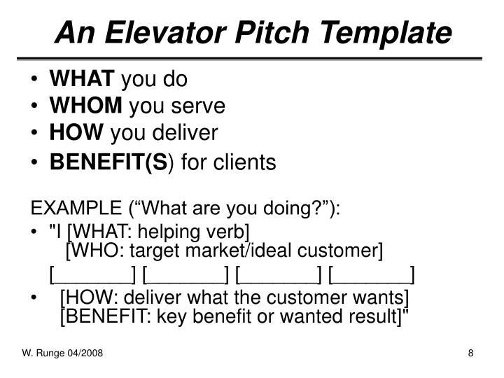 PPT - The Elevator Pitch PowerPoint Presentation - ID298549