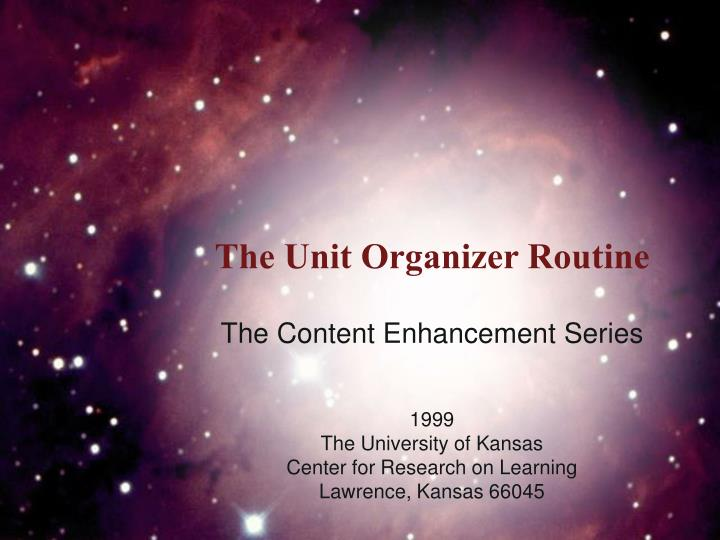 PPT - The Unit Organizer Routine PowerPoint Presentation - ID321677 - unit organizer routine template