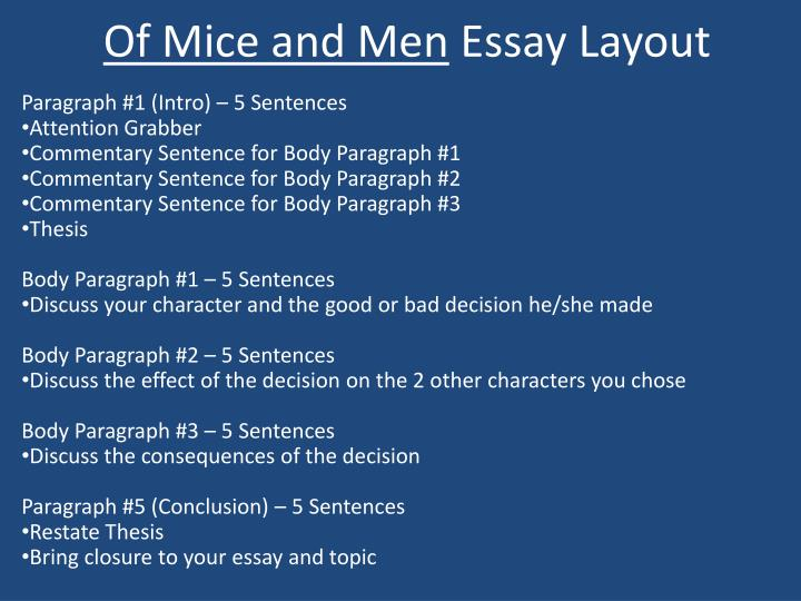 PPT - Of Mice and Men Essay Layout PowerPoint Presentation - ID357115
