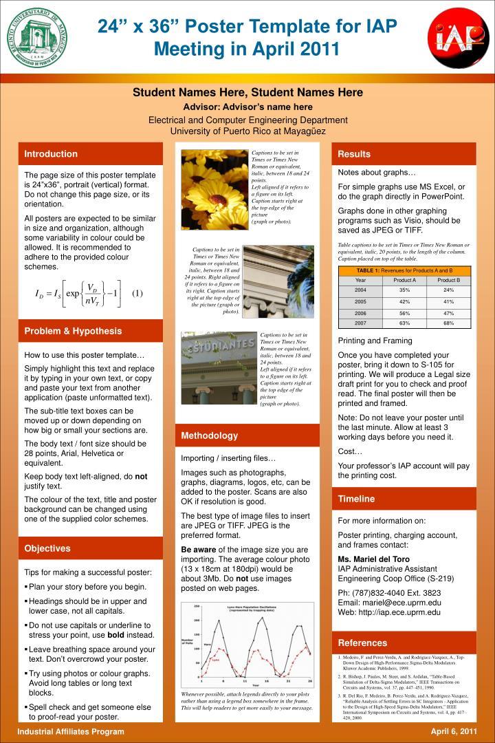 PPT - 24\u201d x 36\u201d Poster Template for IAP Meeting in April 2011