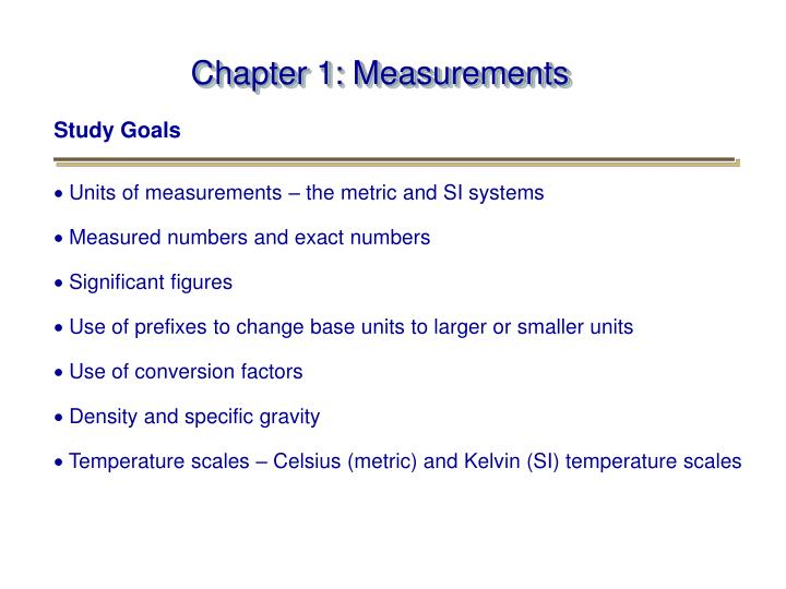 PPT - Chapter 1 Measurements PowerPoint Presentation - ID494438