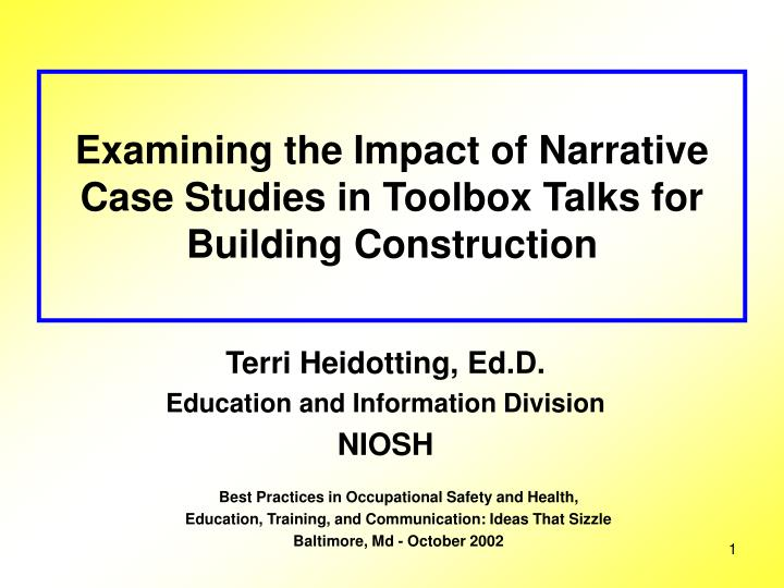 PPT - Examining the Impact of Narrative Case Studies in Toolbox