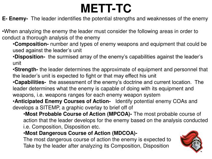 PPT - Troop Leading Procedures, METT-TC  OAKOC PowerPoint