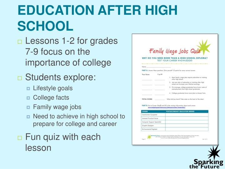 PPT - Sparking the Future college preparation lesson plans
