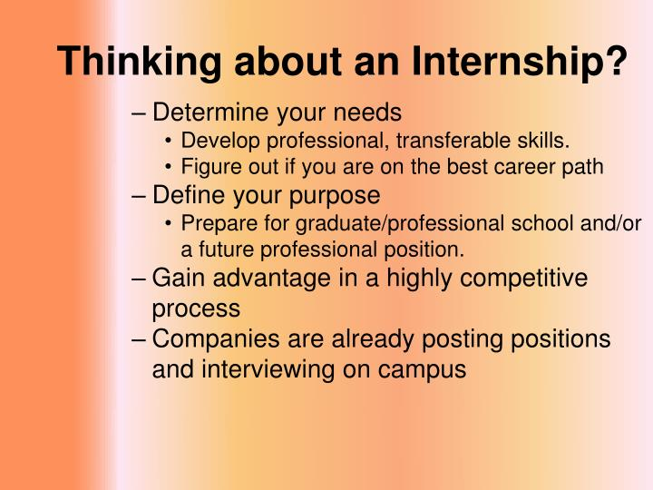 PPT - The Internship Search Personal Preparation and Strategies for