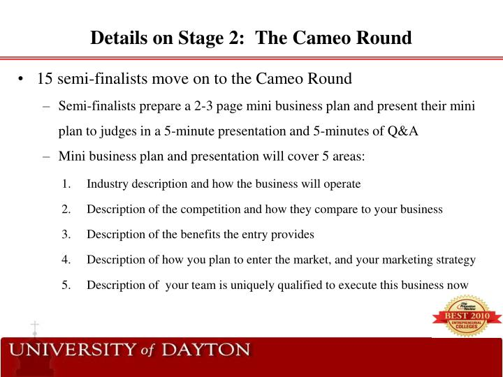 PPT - 2011-2012 University of Dayton Business Plan Competition - 5 minute business plan