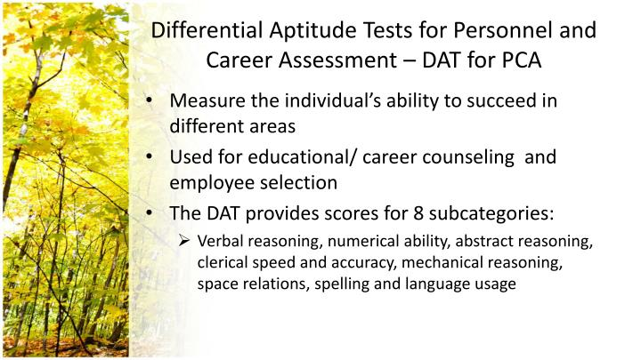 Differential Aptitude Test For Personnel And Career Assessment - career aptitude test