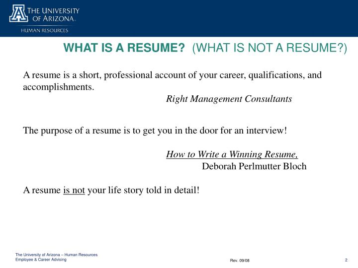 PPT - WHAT IS A RESUME? (WHAT IS NOT A RESUME?) PowerPoint
