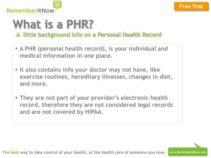 PPT - Personal Health Records with RememberItNow! PowerPoint
