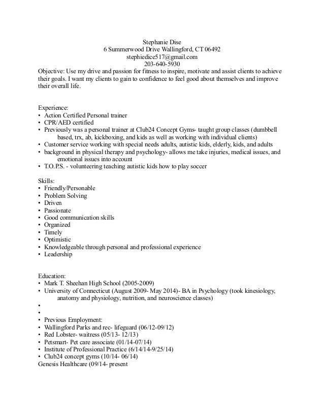 certified personal trainer resume - Jolivibramusic