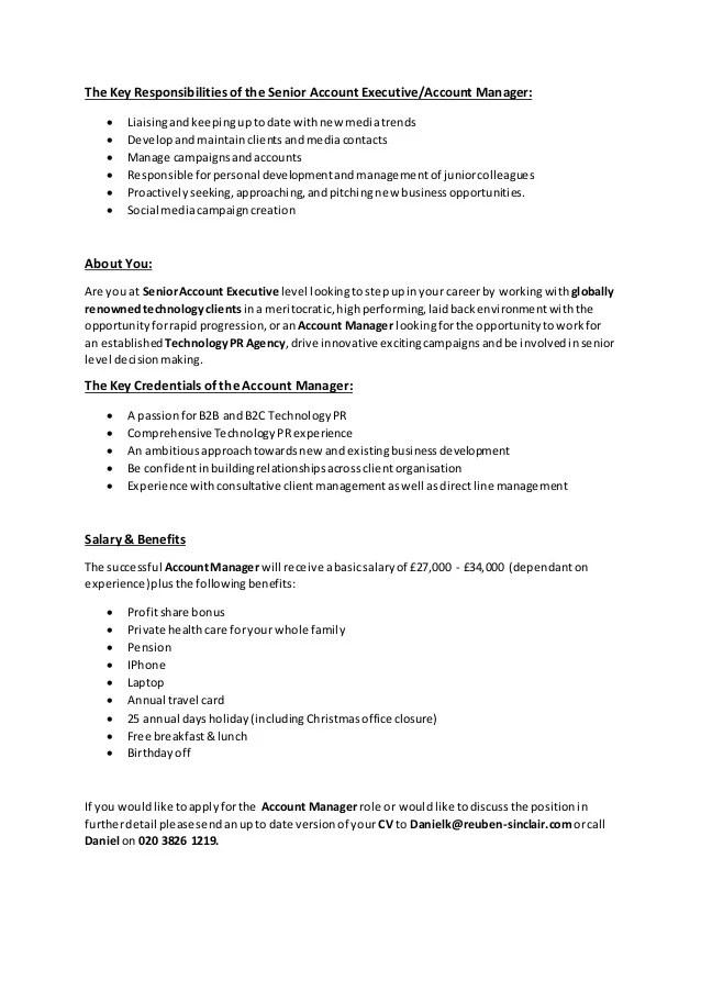 senior account manager job description - Funfpandroid - account manager job description
