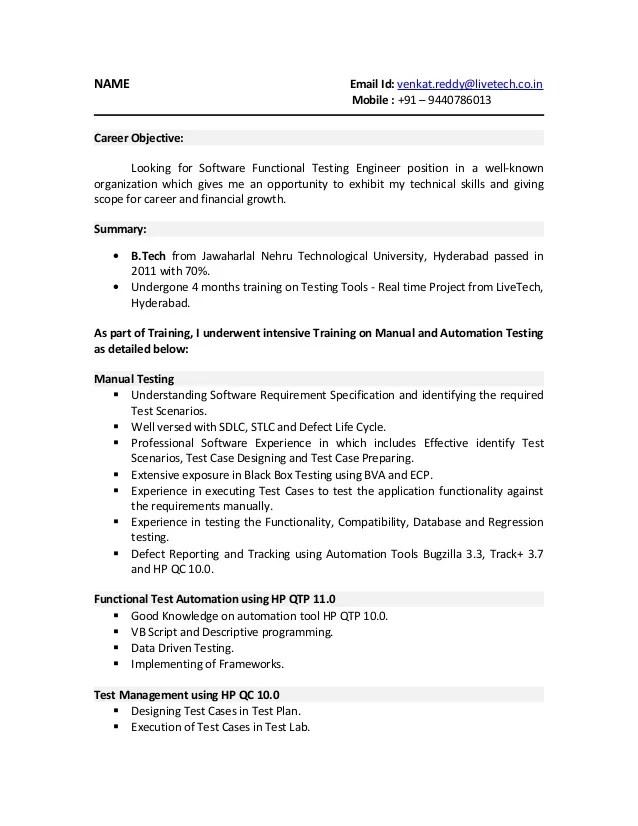 sample resume of qa tester