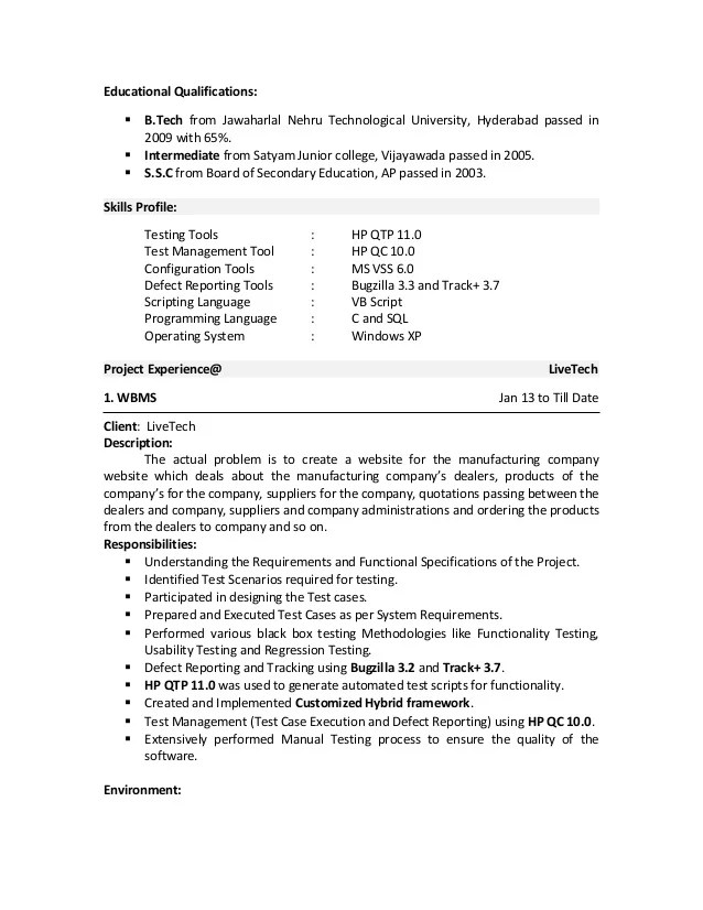 fresher qa tester resume sample