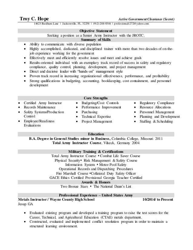 resume example security clearance