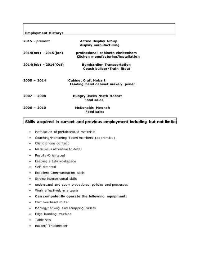 cabinet maker resume template