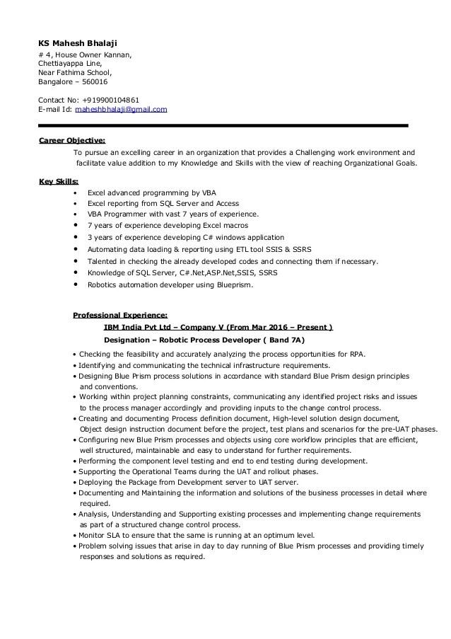 blue prism developer sample resume